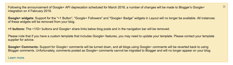 Google+ API deprecation update in Blogger message.png