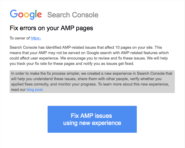AMP error notification mail with beta features.png